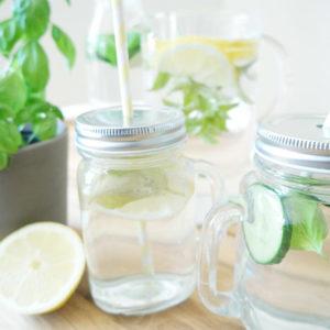 Infused Water Zitrone-Minze und Gurke-Basilikum